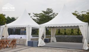 Gazebo buffet Tent - pagoda canopy - flat top high peak tents - square marquees - canopy for hotel wedding - pavilion for pool side party - Shelter aluminum structures for sale (1)
