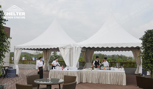 Gazebo buffet Tent - pagoda canopy - flat top high peak tents - square marquees - canopy for hotel wedding - pavilion for pool side party - Shelter aluminum structures for sale (2)