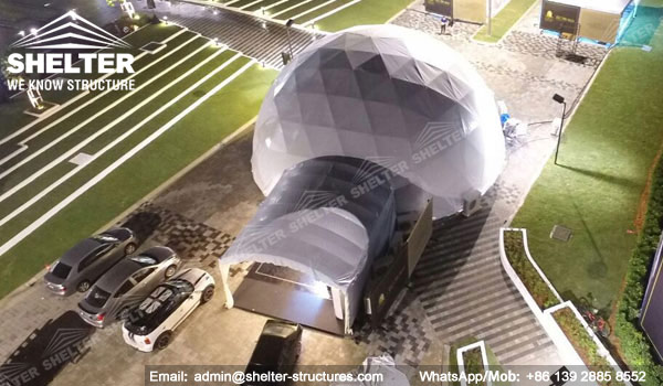 festival Dome Marquee for mini reDia. 15m Geodesic Dome Marquee with Walkway Covers - 15m half clear top Geodome tent with walkway Shelter Dome in Malaysia (1)