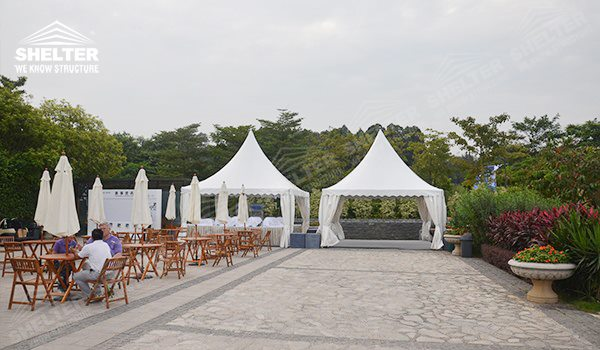Gazebo buffet Tent - pagoda canopy - flat top high peak tents - square marquees - canopy for hotel wedding - pavilion for pool side party - Shelter aluminum structures for sale (18)