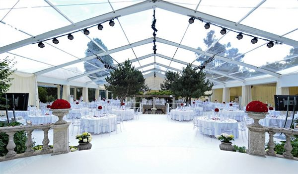 wedding marquee with walls