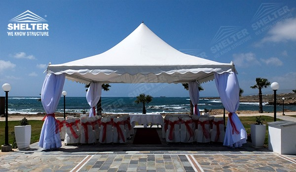 high peak tent - pagoda canopy - flat top high peak tents - square marquees - canopy for hotel wedding - pavilion for pool side party - Shelter aluminum structures for sale (37)