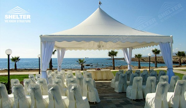 high peak tent - pagoda canopy - flat top high peak tents - square marquees - canopy for hotel wedding - pavilion for pool side party - Shelter aluminum structures for sale (38)