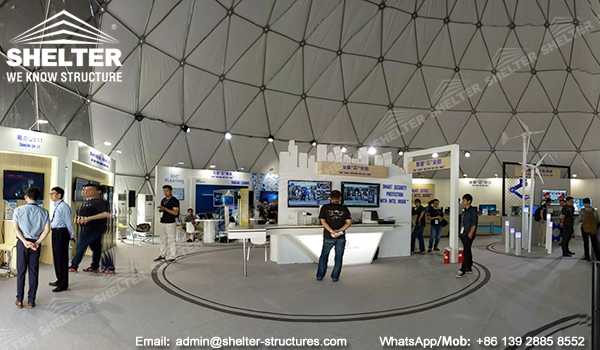 Dome marquee - geodesic dome structures for branding and promotion events - custom designed dome igloo - clear front sphere dome marquees (1)