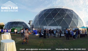 Dome marquee - geodesic dome structures for branding and promotion events - custom designed dome igloo - clear front sphere dome marquees (2)