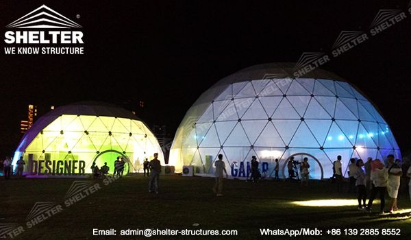 Dome marquee - geodesic dome structures for branding and promotion events - custom designed dome igloo - clear front sphere dome marquees (3)