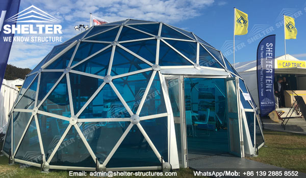 Dia 8m Aluminum Polycarbonate Dome House For Hospitality