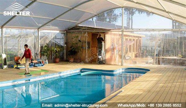 Clear Span Tent for Pool Enclosures - Stainless Aluminum Canopy