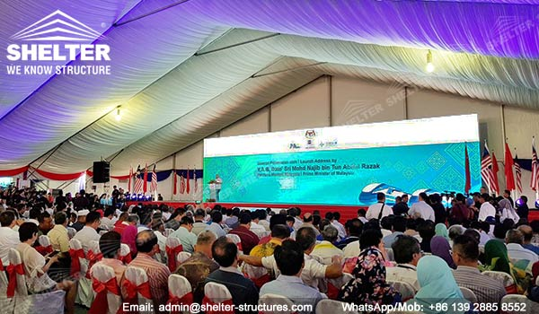 large white tent for groundbreaking celebration - corporate grand opening ceremony - Malaysia's East coast railway link (ECRL) construction tents for sale (12)
