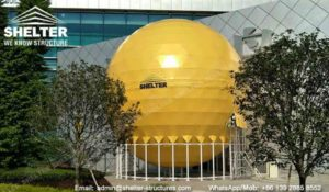 dome cinema - 10m-Projection-Sphere-with-Golden-PVC-Cover---Projection-Dome---Innovative-Structure- 720°-Full-Sphere-Projection-Dome-Theater-in-Dia.10m-for-Project-Display 2