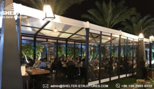 marquee tents for sale - event tent with cassette floor for sale - temporary dining restaurant canopy - german hangar for patio or pool side banquet - fabric frame tents for sale (1)