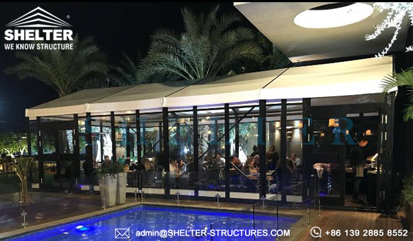 marquee tents for sale - event tent with cassette floor for sale - temporary dining restaurant canopy - german hangar for patio or pool side banquet - fabric frame tents for sale (2)