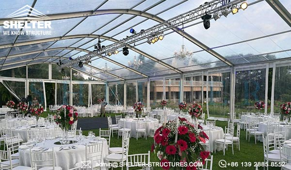 tent with clear roof - wedding marquee tent for sale - 15 by 30m clear top arch tent for wedding banquet and party gathering (2)