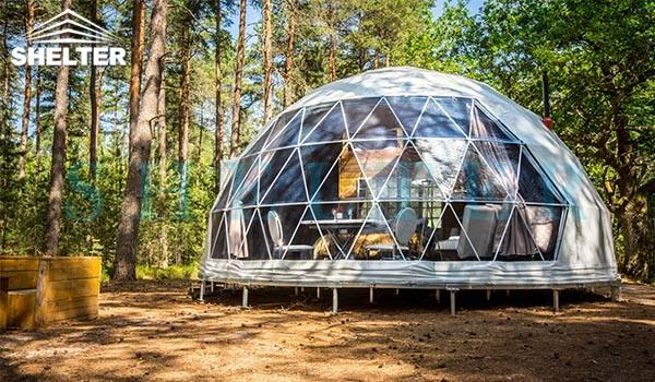 dwell dome sale - 7m (30ft) glamping dome tent - well planned interior design - with insulation and heater (1)