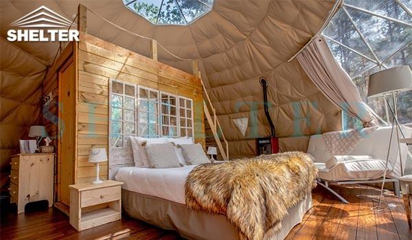 7m (30ft) glamping dome tent with insulation and heater bay window and skylight window(10)
