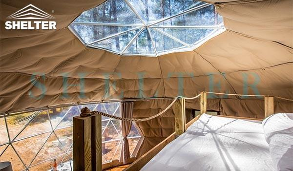 glamping dome hotel with skylight window- 7m (30ft) dome tent- with insulation and heater (2)