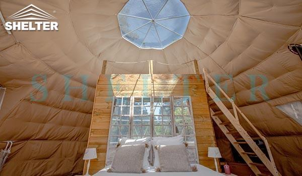 dwell dome sale - 7m (30ft) glamping dome tent - well planned interior design - with insulation and heater (7)